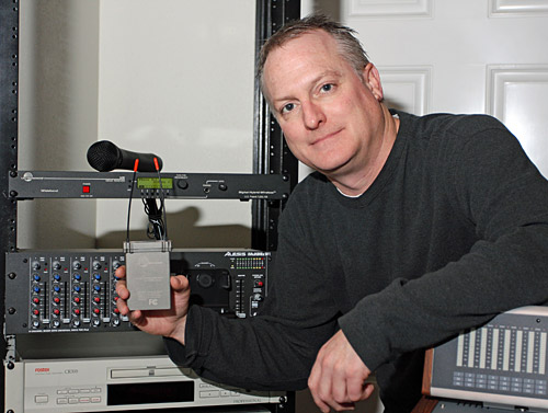 EMG's Scott Wunschel with his Lectrosonics gear.